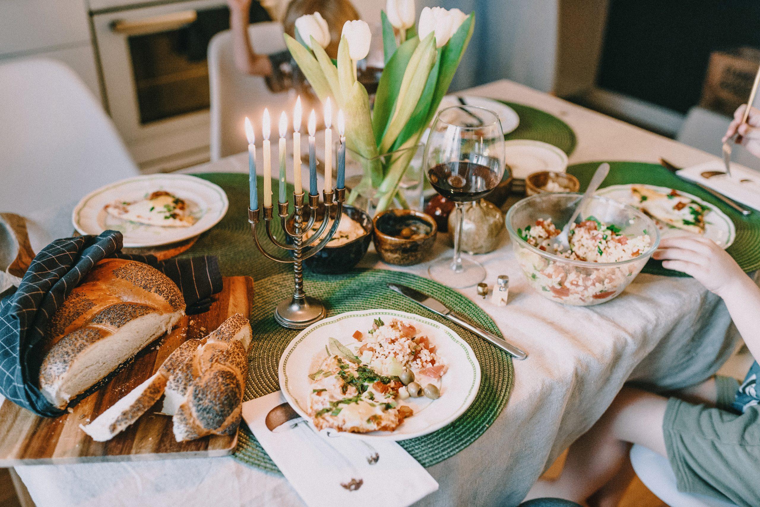 Hanukkah meal on dinner table