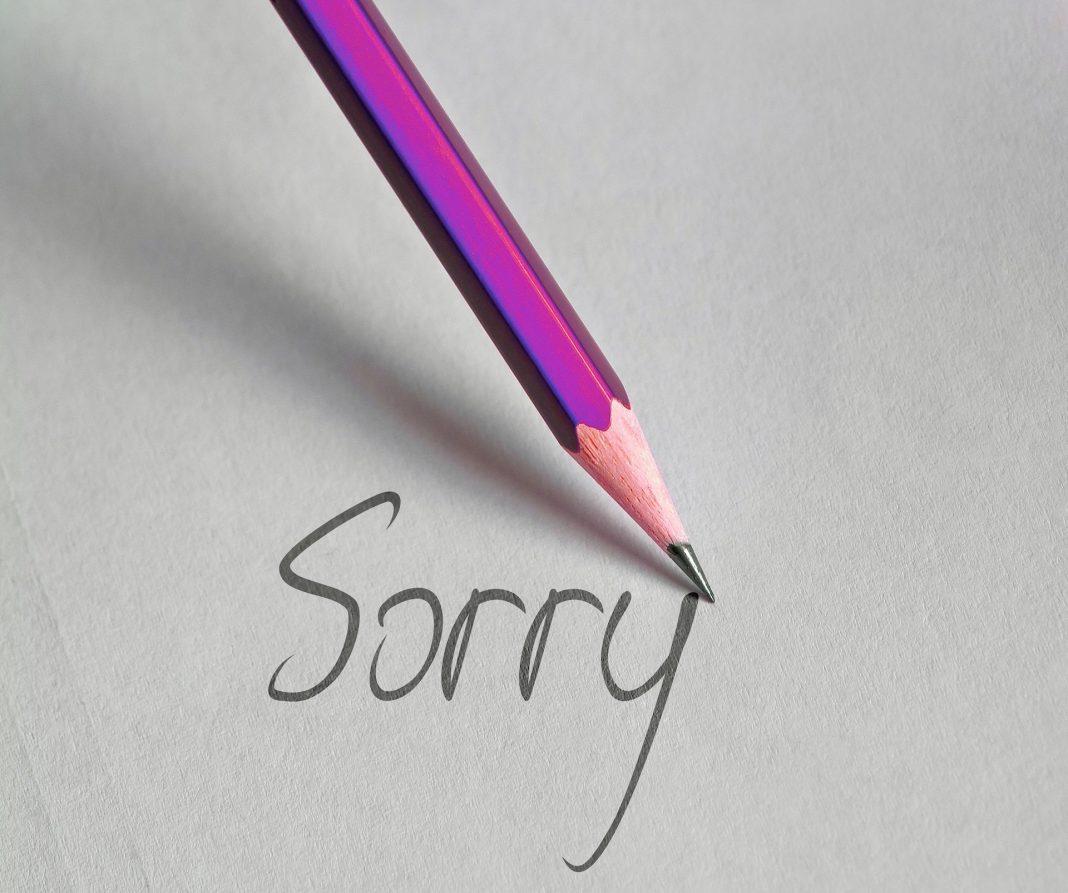pen, write, sorry
