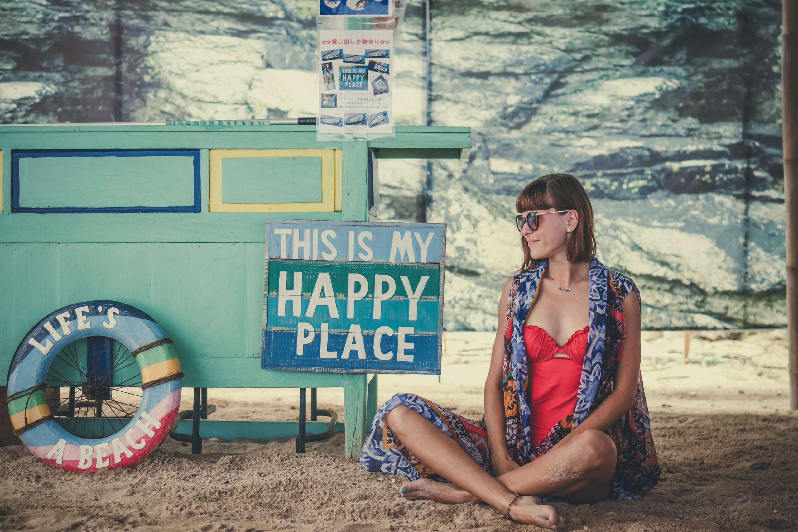 Young stylish woman on the beach Pandawa, tropical and magic island of Bali, Indonesia.