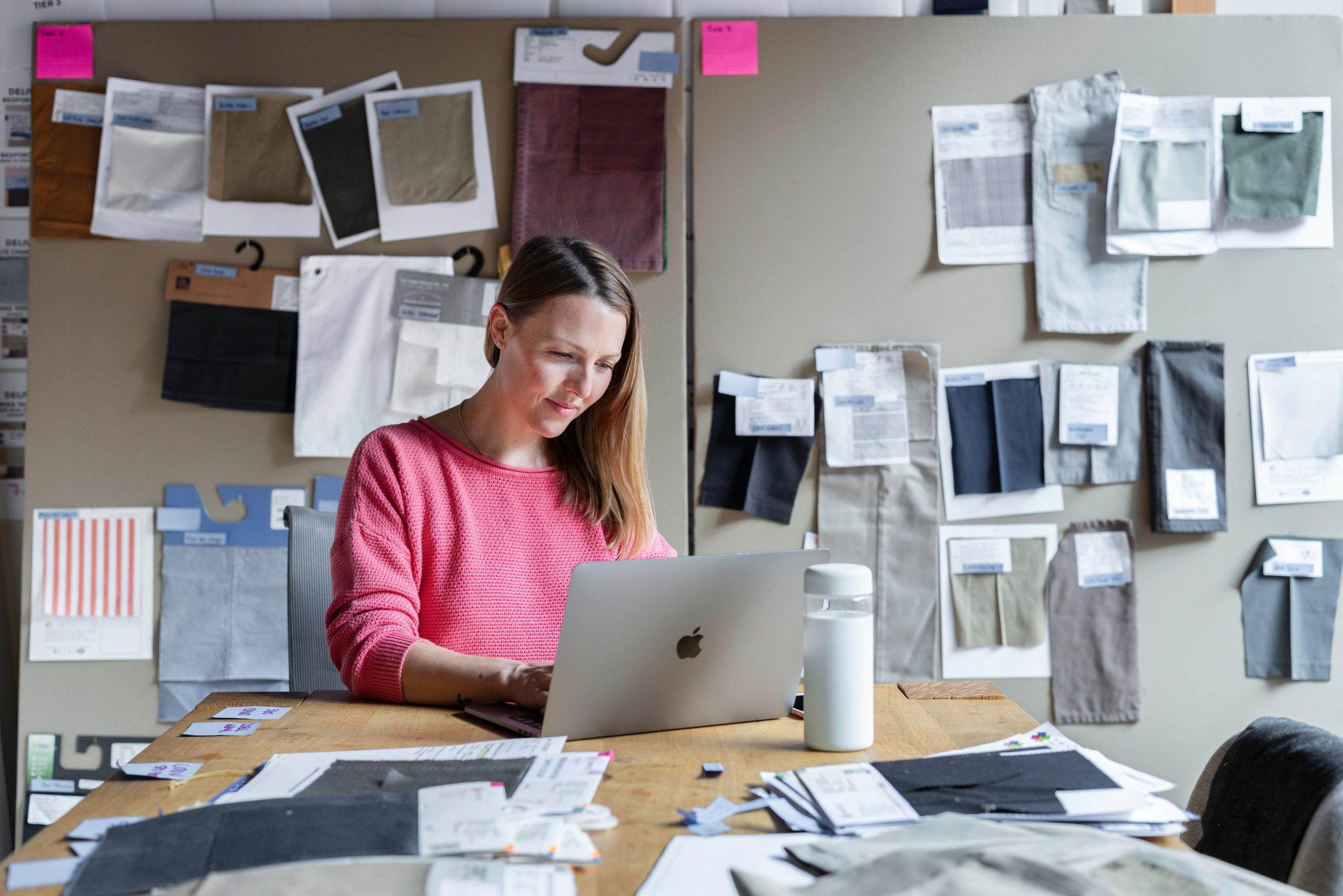 A businesswoman working in an office