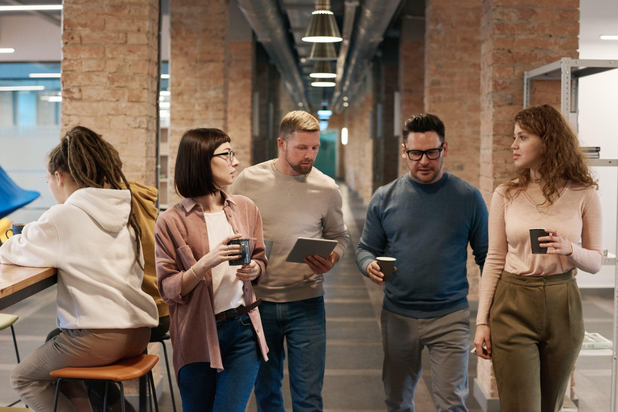 Photo of people walking on hallway